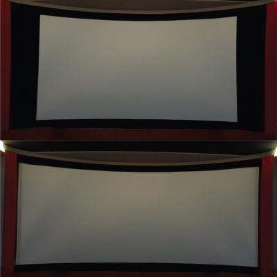 Le placement d'un écran courbe géant, de caches noirs mobiles qui viennent encadrer l'image et de rideaux de scène: le résultat est fabuleux !